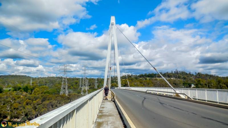 my husband crossing the bridge