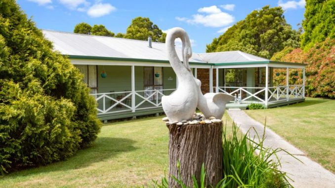 Homestead front with swans