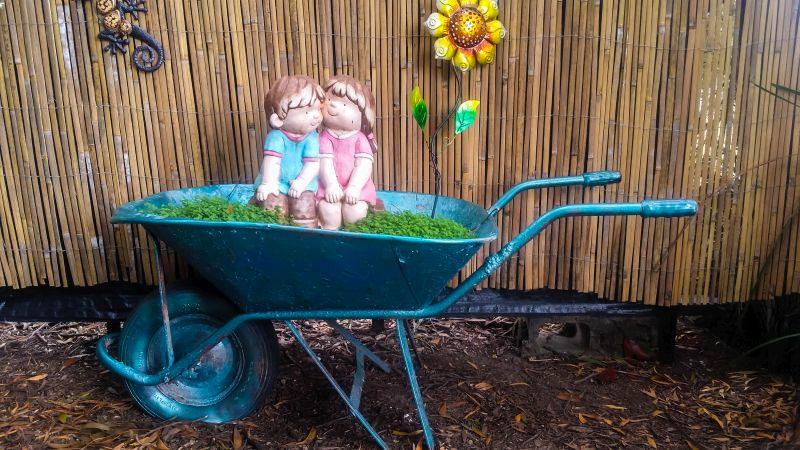 wheelbarrow with girl and boy closeup