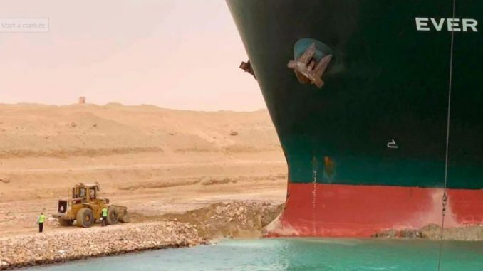 massive ship lodged firm
