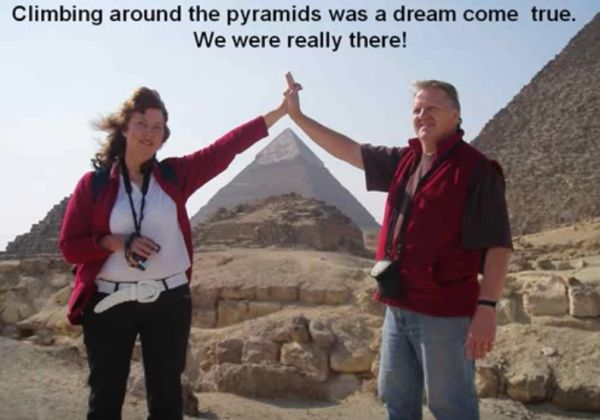 An image of Selwyn and Marilyn viewing the pyramids in Egypt